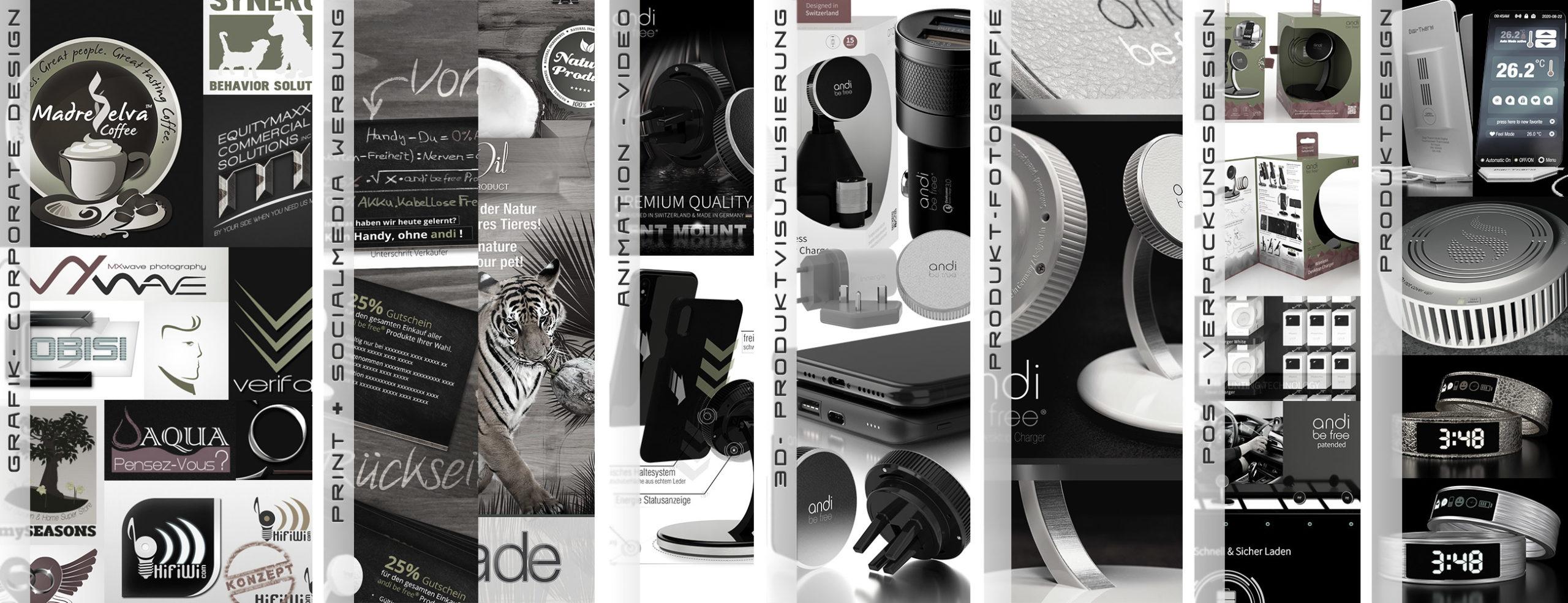 Referenzen Grafik, Print, Video, Foto, Animation, 3D, Produktentwicklung